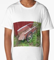 Very overused red pull wagon beside a falling apart shed Long T-Shirt