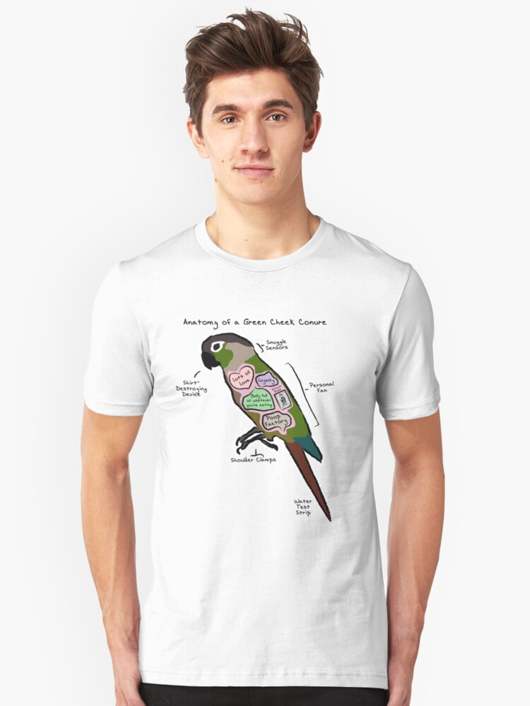 Anatomy Of A Green Cheek Conure Unisex T Shirt By Mommysketchpad