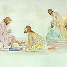 Jesus Washes the Apostles Feet by Anne Gitto
