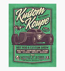 Vintage Style Fictional Halloween Hot Rod Show - Rough Green Photographic Print