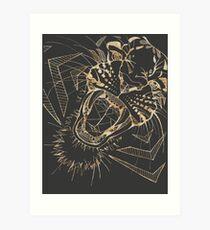 Roaring Geometric Tiger | Gold & Gray Art Print