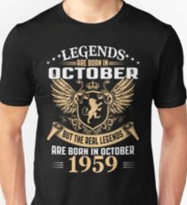 Legends Are Born In October 1959 T-Shirt