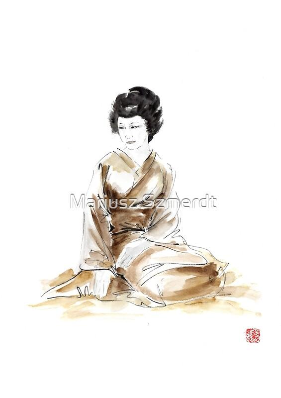 Quot Geisha Ink Painting Geisha Kimono Japan Art Print Women