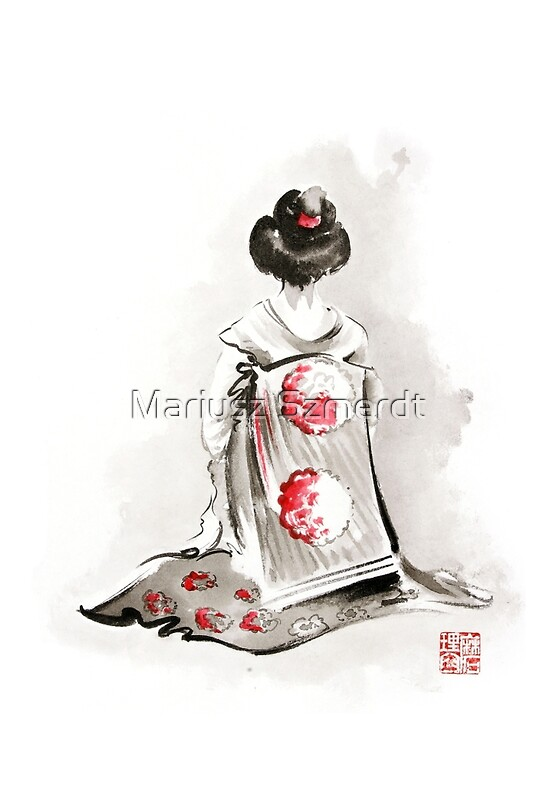 Quot Geisha Girl Drawing Large Poster Japanese Woman
