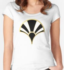 Black, White and Gold Art Deco Scallop Fan Pattern Women's Fitted Scoop T-Shirt