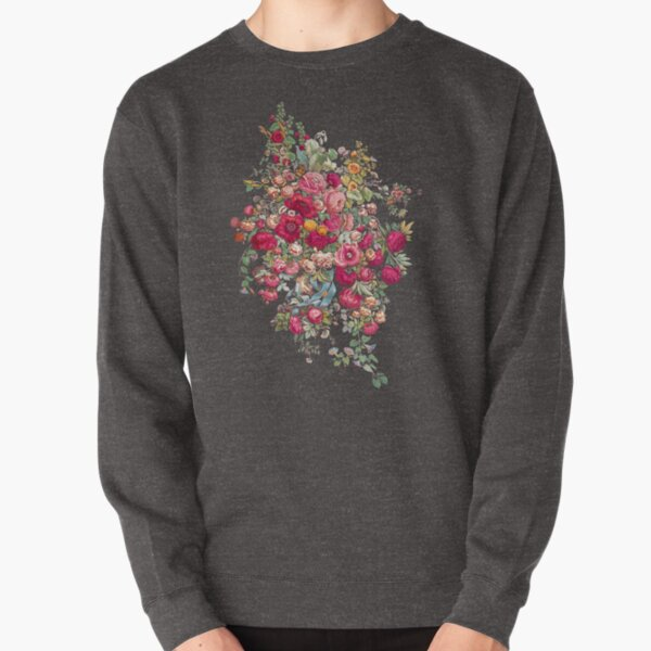 Hoodies Sweatshirt Pockets Watercolor Flower,Blossoming Roses,Sweatshirts for Teen Girls