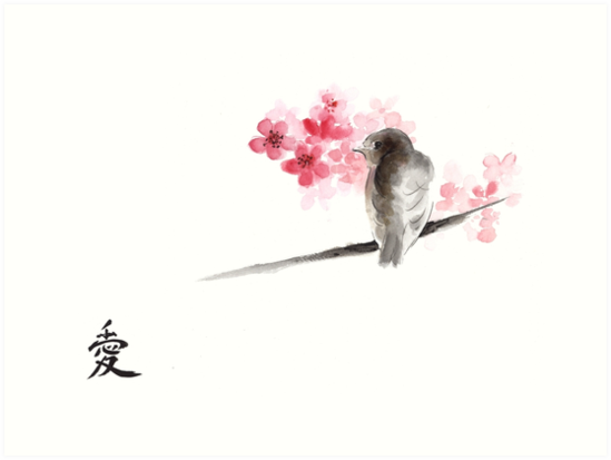 ... on branches ink drawing , cherry blossom flowers, japanese home decor