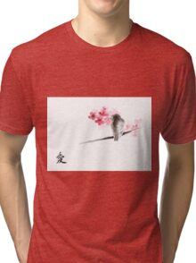 Sparrow sumi-e bird birds on branches ink drawing , cherry blossom flowers, japanese home decor Tri-blend T-Shirt