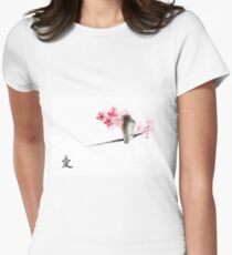 Sparrow sumi-e bird birds on branches ink drawing , cherry blossom flowers, japanese home decor T-Shirt