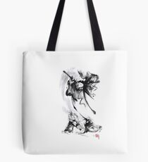 Aikido techniques martial arts sumi-e black and white ink painting watercolor art print painting, japanese warrior artwork Tote Bag