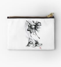 Aikido techniques martial arts sumi-e black and white ink painting watercolor art print painting, japanese warrior artwork Studio Pouch