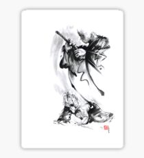 Aikido techniques martial arts sumi-e black and white ink painting watercolor art print painting, japanese warrior artwork Sticker