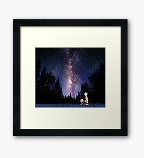 galaxy calvin and hobbes Framed Print