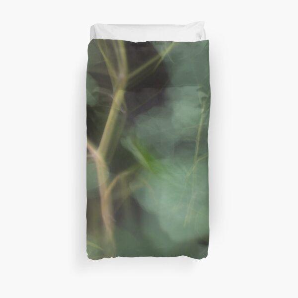Fleur Blur-Abstract Eucalyptus Leaves on Black Background Duvet Cover