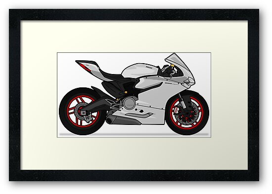 Ducati 899 Panigale White Framed Prints By Marlonvector Redbubble