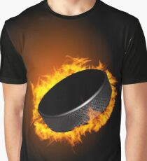 Burning Hockey Puck  Graphic T-Shirt