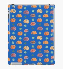 Pumpkins with Leaves Pattern on Blue iPad Case/Skin
