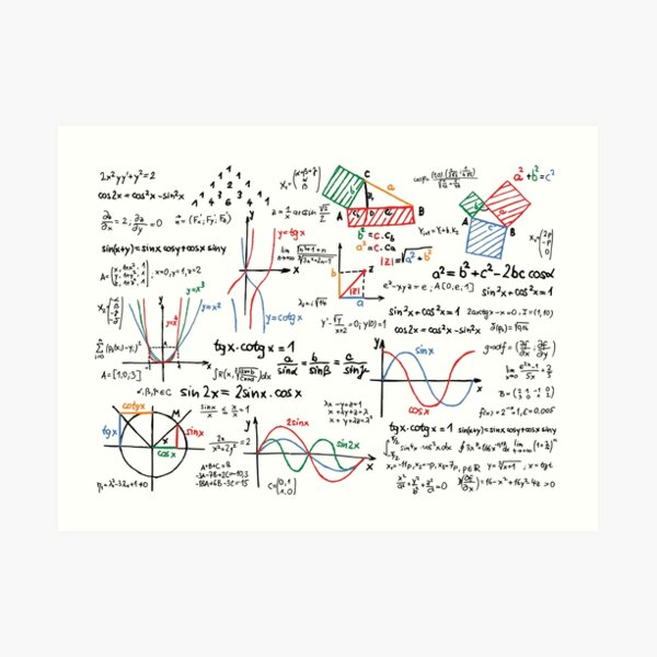 Mathematics Formulas Numbers  Art Print