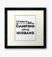 Camping With My Husband Summer Vacay Camper Shirt For Women Framed Print