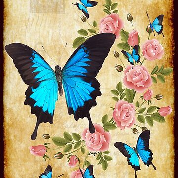 Ulysses Butterflies with Roses by Joey27