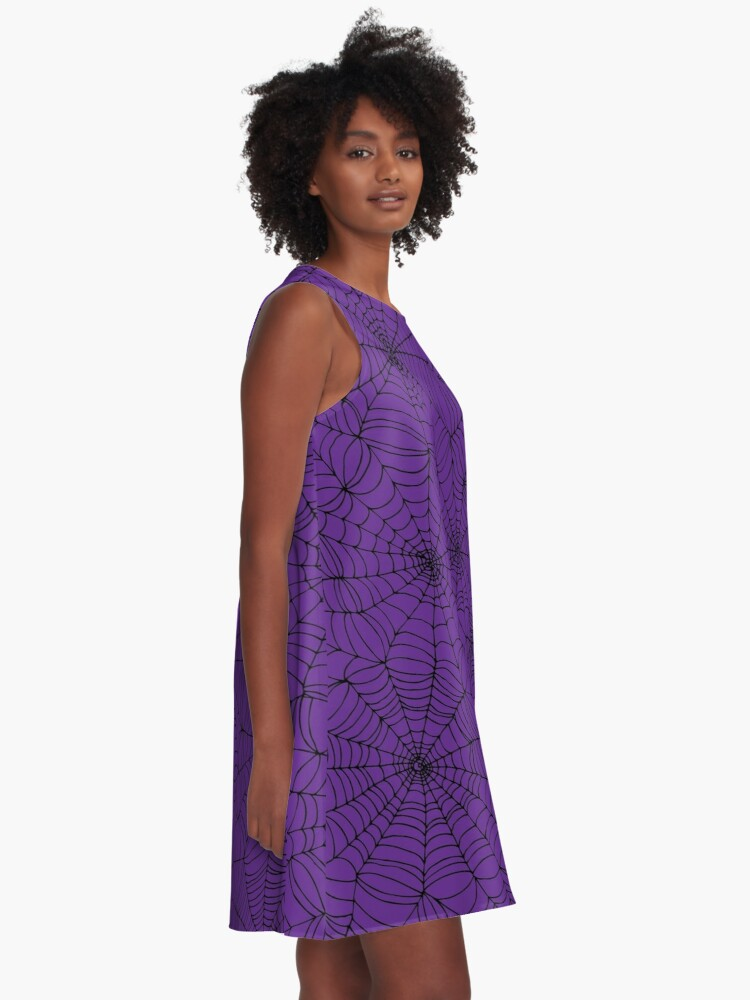 Alternate view of Spider web pattern - purple and black - Halloween pattern by Cecca Designs A-Line Dress
