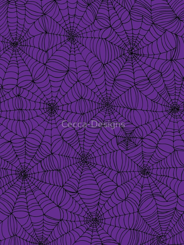 Spider web pattern - purple and black - Halloween pattern by Cecca Designs by Cecca-Designs