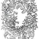 «Patrón de árbol de pájaros blanco y negro» de Ruta Dumalakaite