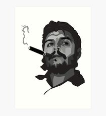 che guevara with cigar black and with painting Art Print