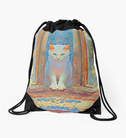 Symmetrical cat Drawstring Bag