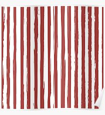 Red grunge striped print Poster