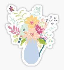 Enamel jug full to overflowing with flowers Sticker