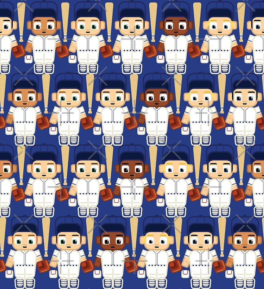 Baseball White and Blue - Super cute sports stars by boxedspaper