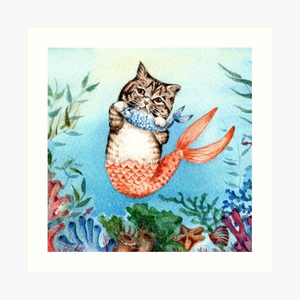 Nette Purrmaid Cat Mermaid Kunstdruck