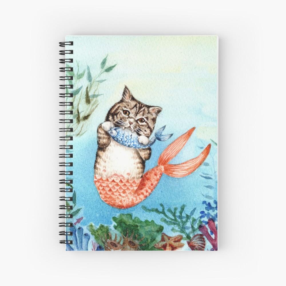 Cute Purrmaid Cat Mermaid  Spiral Notebook
