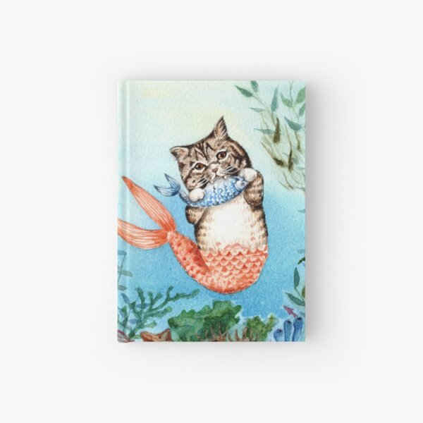 Cute Purrmaid Cat Mermaid  Hardcover Journal