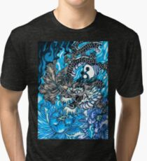 Japanese dragon with blue frame  Tri-blend T-Shirt