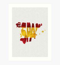 Spain Typographic Map Flag Art Print