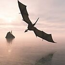 Dragon Flying Low Over the Sea at Evening by algoldesigns