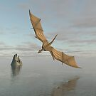 Dragon Flying Low Over the Sea in Daylight by algoldesigns