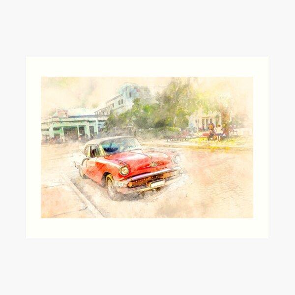 Cuba red car Art Print