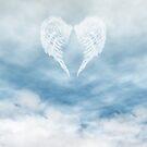 Angel Wings in Cloudy Blue Sky by algoldesigns