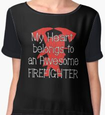My Heart Belongs To An Awesome Firefighter Design Women's Chiffon Top