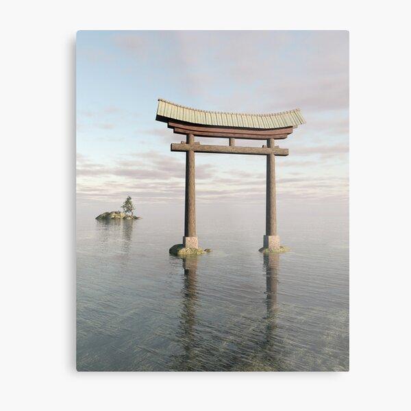 sunset asian shinto sacred Japanese serenity Torii Floating Gate ocean sea