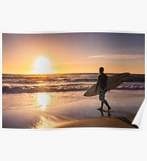 Surfer watching the waves Poster
