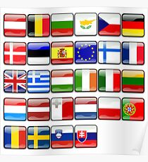 European Flags, Button Flags, EU, Europe Poster
