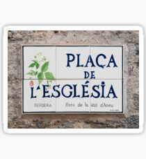 Ceramic street sign, Esterri d'Aneu, Pyrenees mountains Sticker