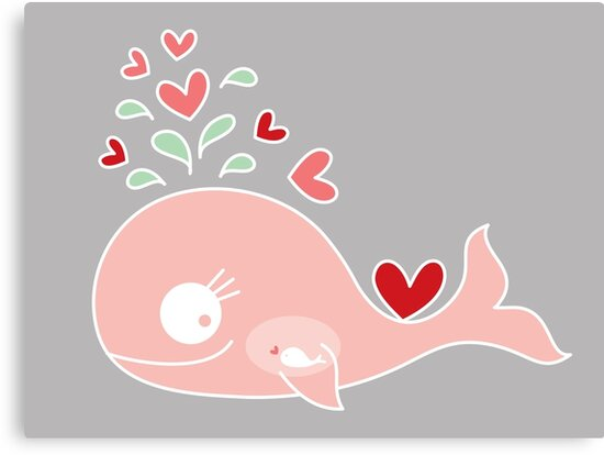 Whimsical Pink Pregnant Mommy Whale by fatfatin