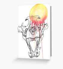 Dotwork and Watercolour Lion Skull Greeting Card