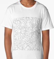 Black and White Ink Pen Lines Bubbles Pattern Long T-Shirt