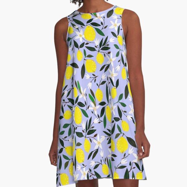 Lemons Blue A-Line Dress